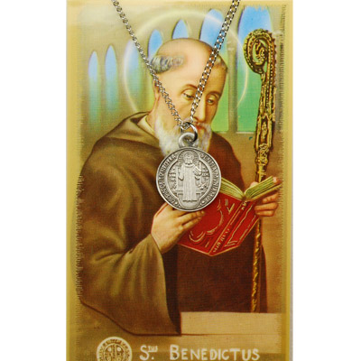 Image for St. Benedict Prayer Card w/Chained Medal