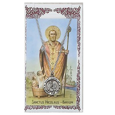 Image for St. Nicholas Prayer Card w/Chained Medal