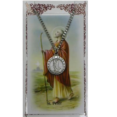 Image for St. Peter Prayer Card w/Chained Medal