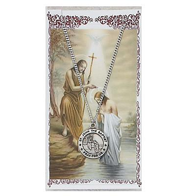 Image for St. John the Baptist Prayer Card w/Chained Medal