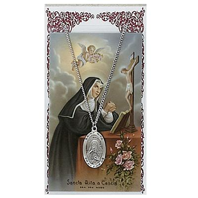 Image for St. Rita Prayer Card Set w/Chained Medal