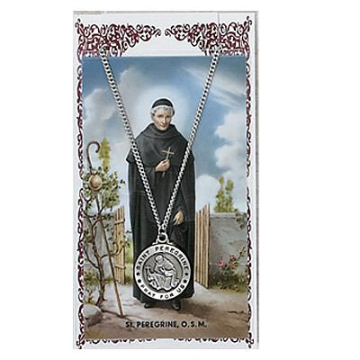 Image for St. Peregrine Prayer Card w/Chained Medal
