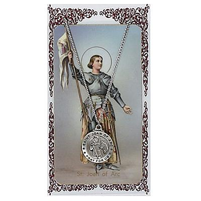 Image for St. Joan of Arc Prayer Card w/Chained Medal