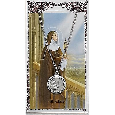 Image for St.Clare Prayer Card w/Chained Medal