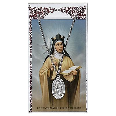 Image for St.Theresa Avila Prayer Card w/Chained Medal
