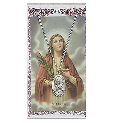 Image for St. Lucy Prayer Card w/Chained Medal