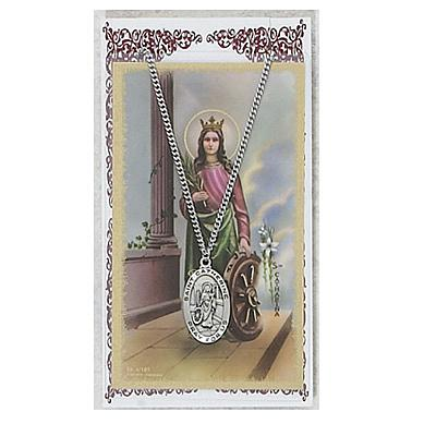 Image for St. Catherine Prayer Card w/Chained Medal