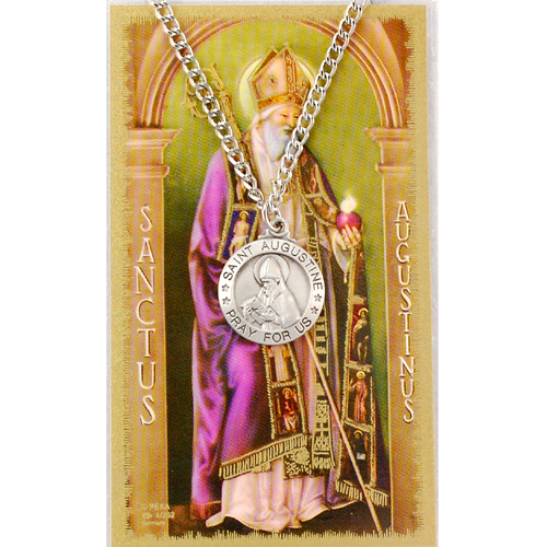 Image for St. Augustine Prayer Card w/Chained Medal