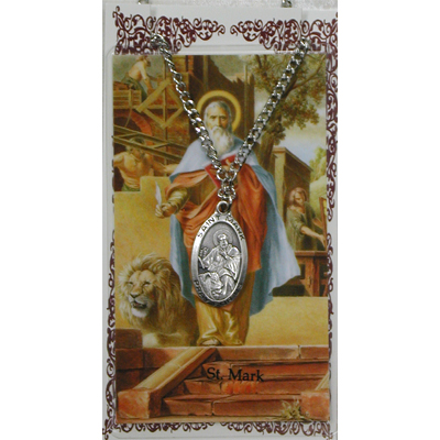 Image for St. Mark Prayer Card w/Chained Medal