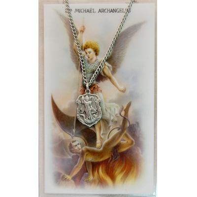Image for St. Michael Prayer Card w/Chained Medal