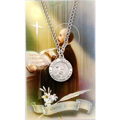 Image for St. Ignatius Prayer Card w/Chained Medal