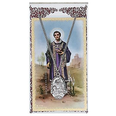 Image for St. Stephen Prayer Card w/Chained Medal