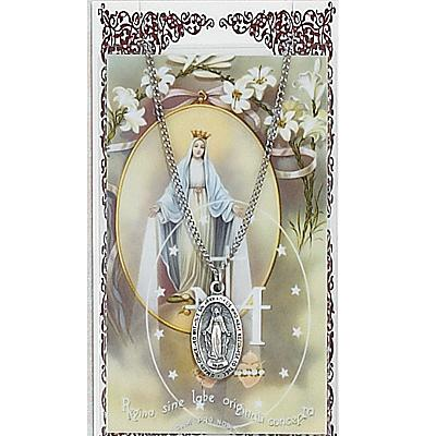 Image for Miraculous Prayer Card w/Chained Medal