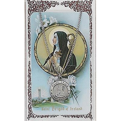 Image for St. Brigid Prayer Card w/Chained Medal