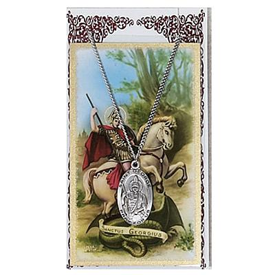 Image for St. George Prayer Card w/Chained Medal