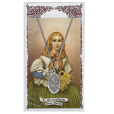 Image for St. Dymphna Prayer Card w/Chained Medal