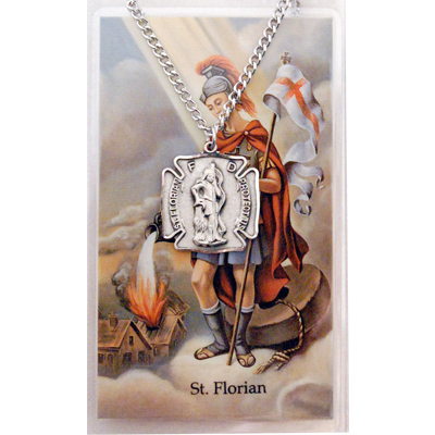 Image for St. Florian Prayer Card w/Chained Medal