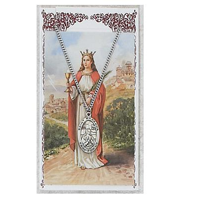 Image for St. Barbara Prayer Card w/Chained Medal